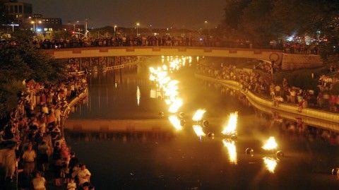 WaterFire lights up Rome's Tiber