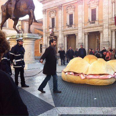 Giant sandwich outside Rome mayor's office