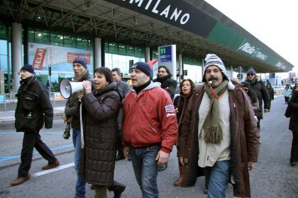 Protest at Rome's Fiumicino airport