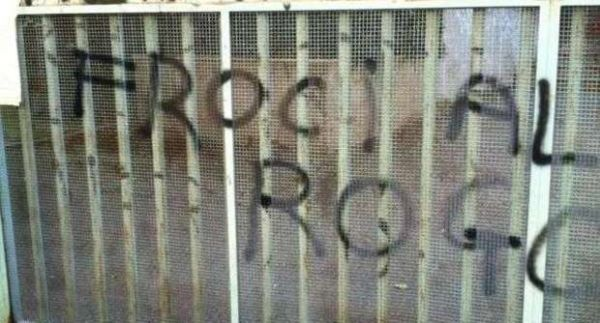 Homophobic graffiti outside Rome school
