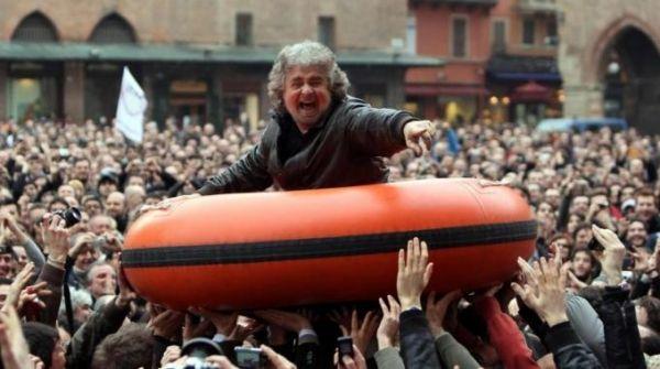 Beppe Grillo ends campaign in Piazza S Giovanni