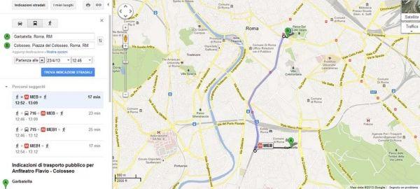 Google Transit in Rome
