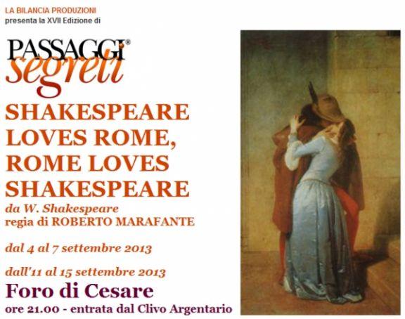 Shakespeare loves Rome, Rome loves Shakespeare