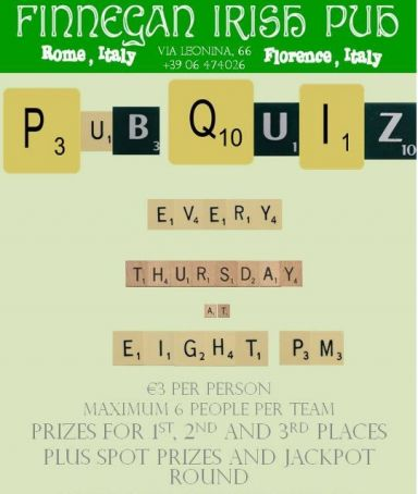 Weekly pub quiz in Rome