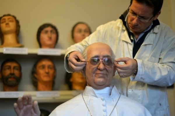 Pope Francis statue in Rome's wax museum