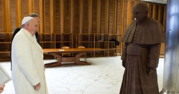 Life-size chocolate statue of Pope Francis