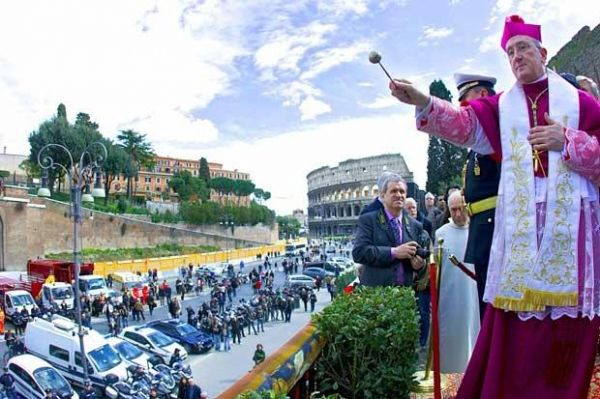 Blessing of cars in Rome