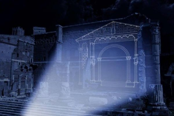 A restoration made of light at the Forum of Augustus