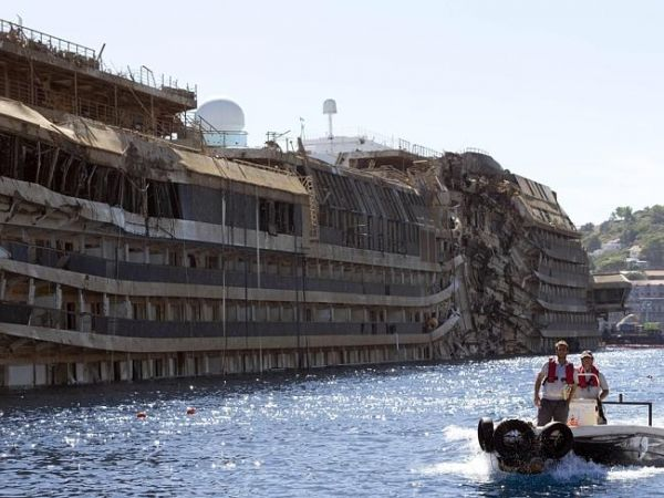 Costa Concordia being refloated