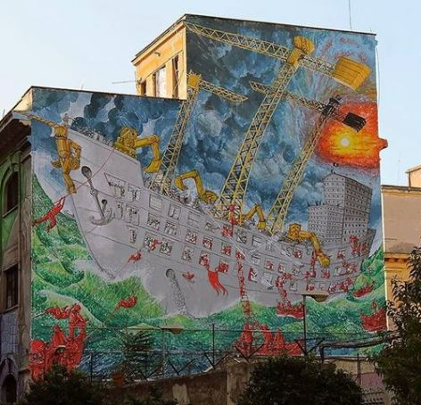 New mural in Rome's Ostiense district