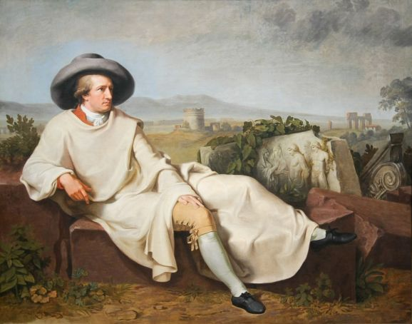 Tischbein's famous portrait of Goethe in the Campagna Romana hangs in Casa di Goethe on Via del Corso 18.