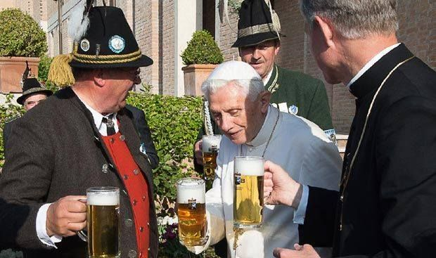 Cheers. Pope Emeritus Benedict XVI celebrated his 88th birthday with a beer.