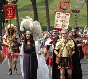 Gladiators, senators and vestal virgins celebrate Rome's birthday