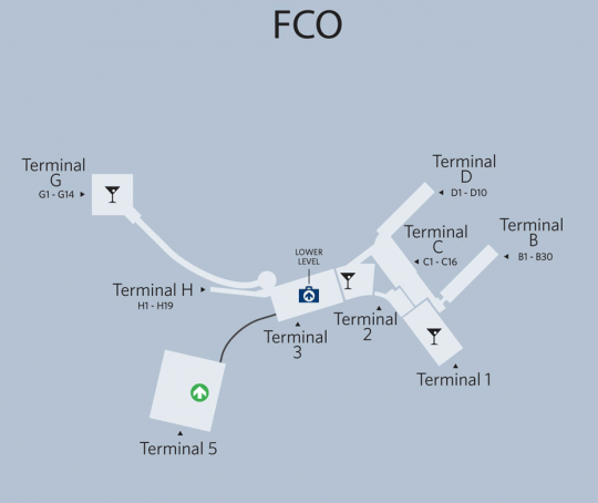 Fiumicino's Terminal 3 reduces operating capacity