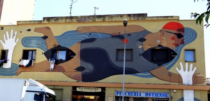 The Swimmer by Agostino Iacurci in Ostiense
