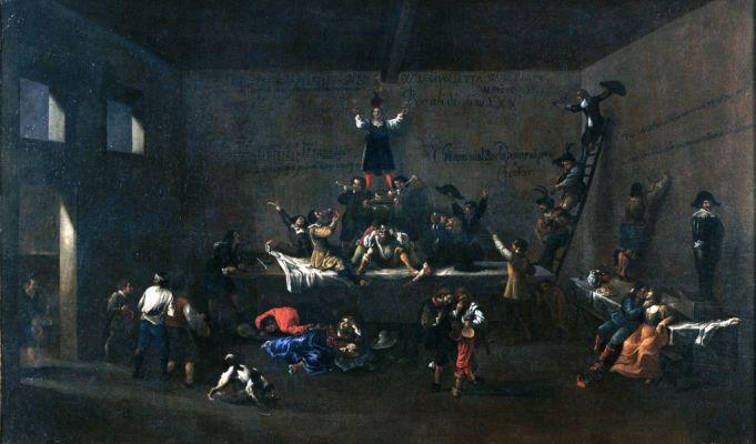 Les Bentvueghels dans une auberge romaine by Roeland van Laer.