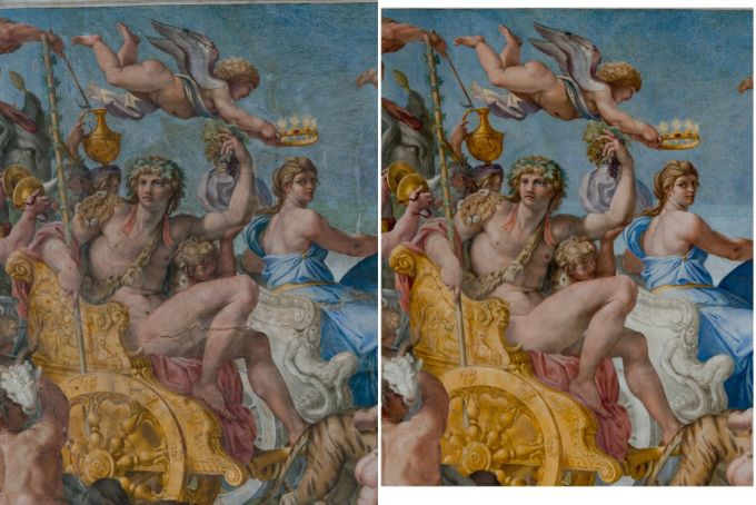 The Triumph of Bacchus and Ariadne, before and after restoration.