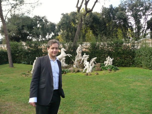 French Academy director Eric de Chassey with the Niobe group in the Villa Medici gardens.