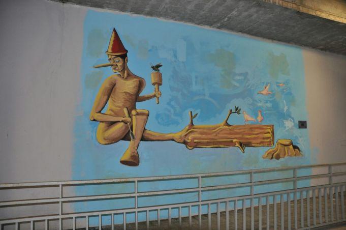 pinocchio mural andrea gandini settebagni train stations rome