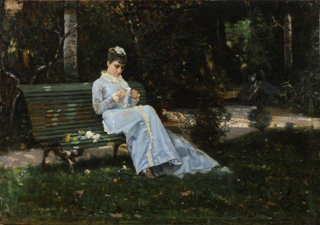 Ritratto di Alaide Banti in giardino by Cristiano Banti.