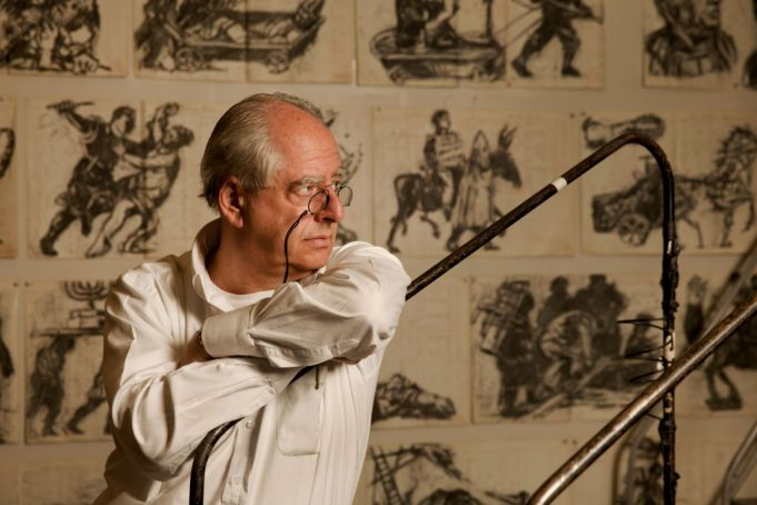 Kentridge at work on Triumphs and Laments with some of the drawings in his Johannesburg studio. Photo Marc Shoul.