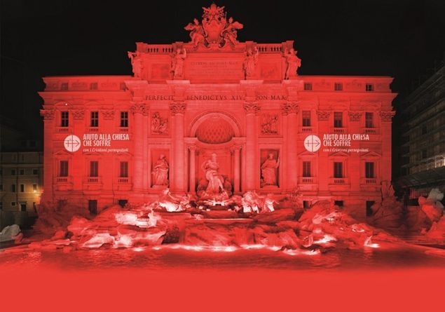 Rome's Trevi Fountain to turn red for Christian martyrs
