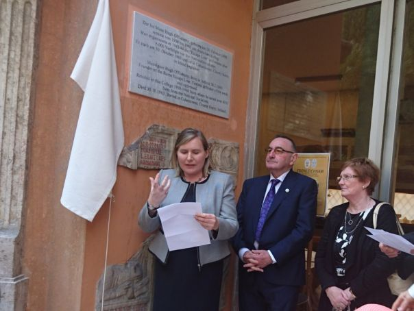Ireland's ambassador to the Holy See Emma Madigan at the unveiling at the Collegium Teutonicum on 8 May, alongside O'Flaherty's nephew Hugh O'Falherty and niece Pearl Dineen.