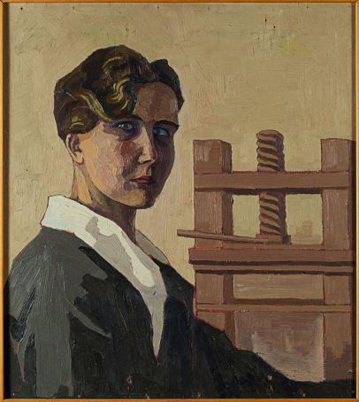 Mimì Quilici Buzzacchi, Autoritratto al torchio 1926, oil on board, Quilici collection.