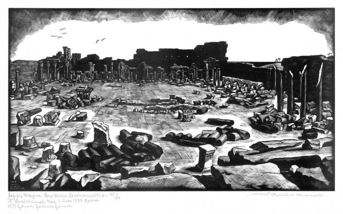 Mimì Quilici Buzzacchi, Leptis Magna – Foro Nuovo Severiano, 1938, woodcut, Quilici Collection.