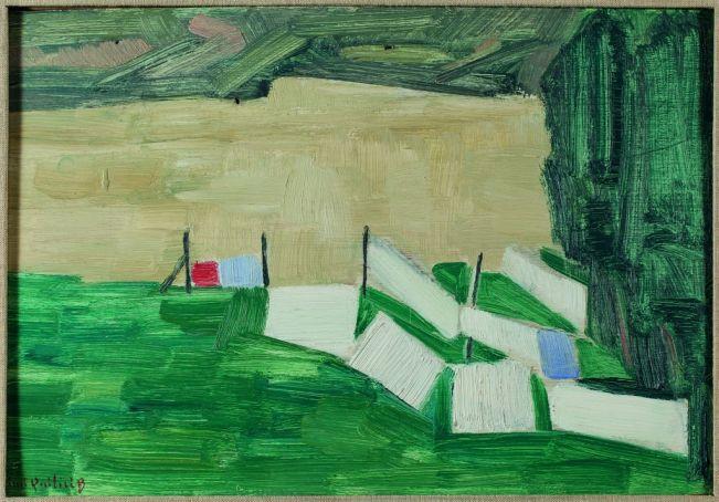 Mimì Quilici Buzzacchi, Bucatino con il Tevere biondo (Panni stesi), 1955, oil on cardboard, Quilici Collection.