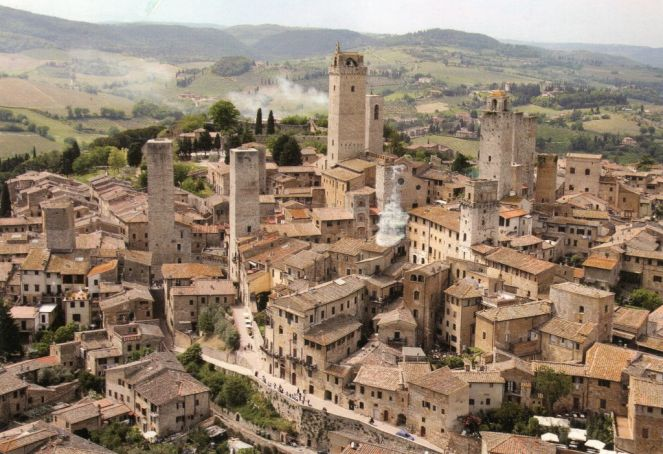 San Gimignano is famed for its skyline of mediaeval towers.