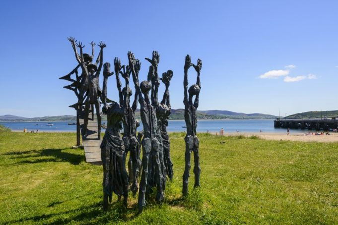 Flight Of The Earls memorial sculpture by John Behan RHA in Donegal, north-west Ireland.