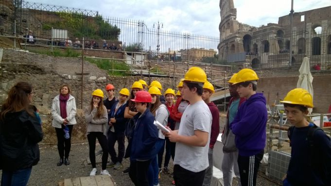 James Hua (on far right of picture) with his St Stephen's classmates at the Palatine excavations.