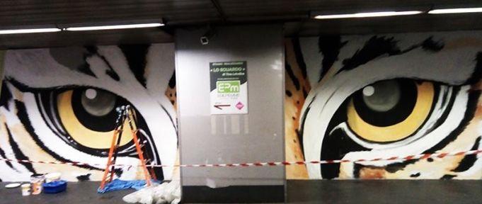 Retake Roma mural at S. Giovanni metro station