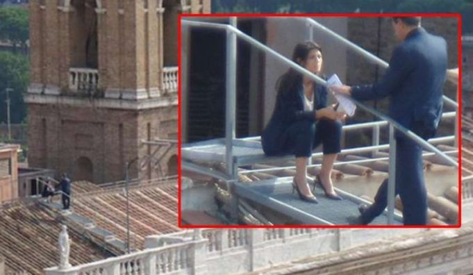 Raggi Romeo speaking on roof of Campidoglio
