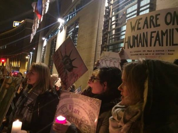 Anti-Trump protests outside US embassy in Rome