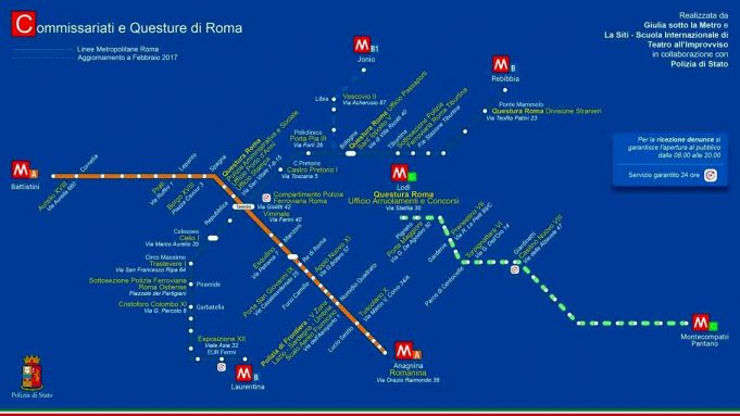 Metro map of Rome's police stations