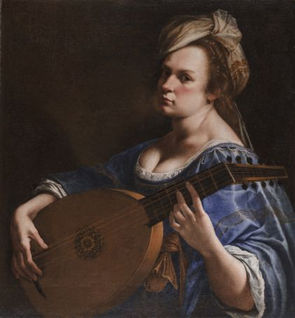 Artemisia Gentileschi's Self-Portrait as a Lute Player was likely commissioned by Grand Duke Cosimo II de' Medici and is one of her few surviving self portraits.
