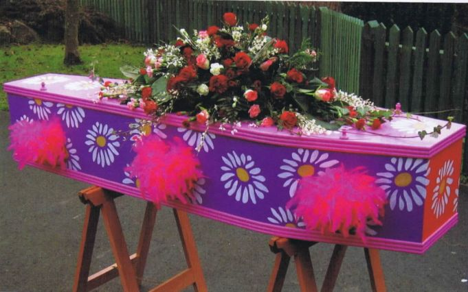 A painted coffin provides an alternative and colourful farewell