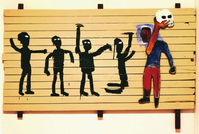 Basquiat's Procession contains numerous disturbing references to his cultural background.