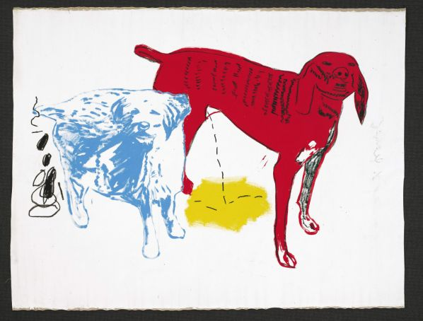 Basquiat collaborated with Warhol on Untitled (Two Dogs).