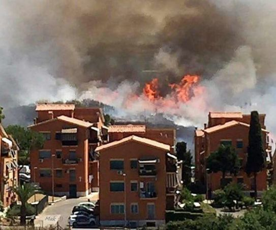 Major bushfire in Rome suburbs