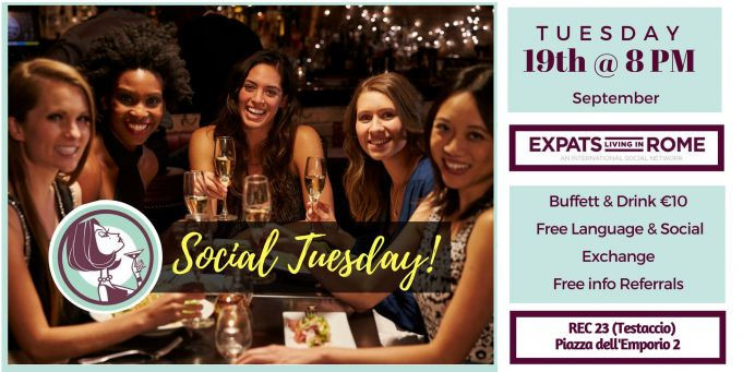 19th sept Rome Expats & Diplomats Social Tuesday Aperitif (Testaccio)