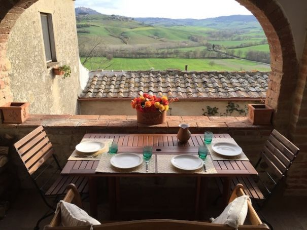 Tuscany, Montepulciano: portion of old farmhouse with pool