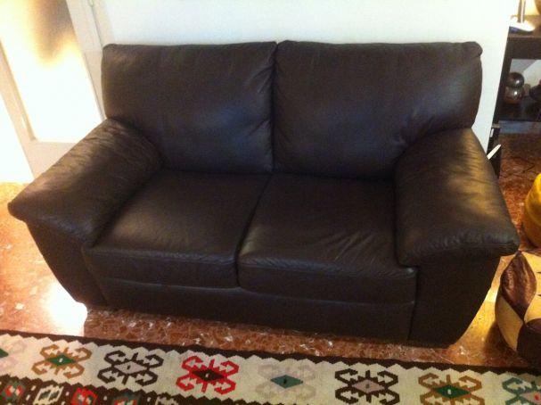 Genuine leather couch - dark brown