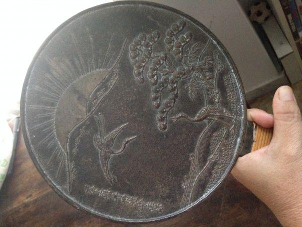Ancient Japanese bronze mirror - ekagami (XIX Cent.  Edo  period)