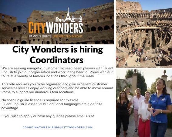 City Wonders are hiring Coordinators!