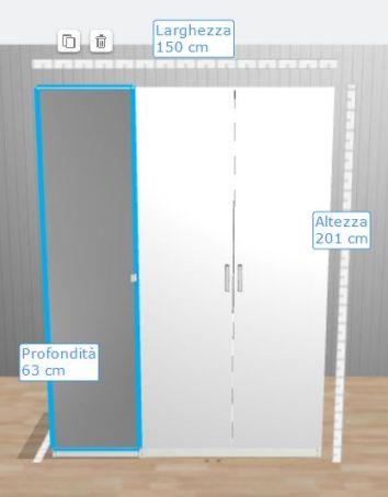 IKEA PAX Wardrobe White and Mirror Doors
