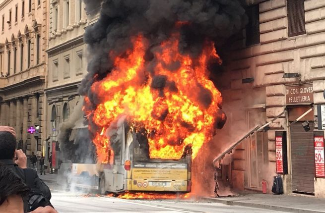 Rome bus bursts into flames in city centre