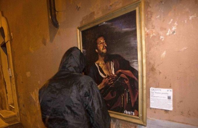 Salvini depicted in Rome street art